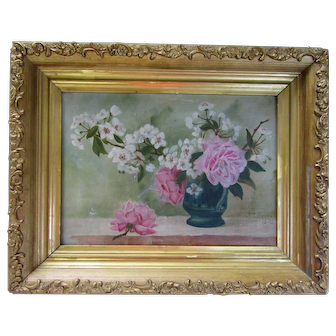 Antique 1895 Folk Art Still Life Oil Painting Signed Gold Wood Gesso Picture Frame Original