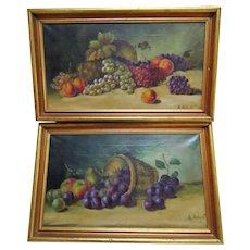 2 Original Vintage Still Life Oil Paintings Gold Wood Frames Signed Folk Art Country