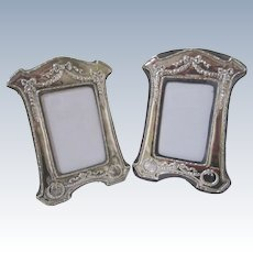 """2 Big 8.75"""" Vintage Sterling Silver Picture Frames Repousse Swags Wreaths Bows England"""