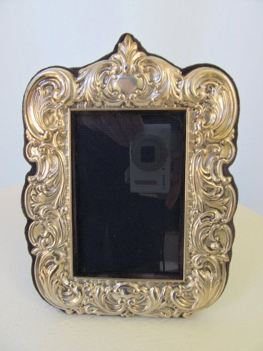 Ornate 8 Vintage Sterling Silver Picture Frame Repousse Scroll