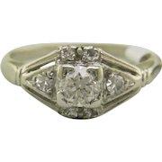 Vintage Art Deco Platinum Engagement Ring with Old European Cut Diamond