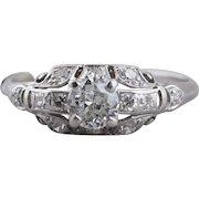 Art Deco Era Platinum Engagement Ring with Old European Diamonds