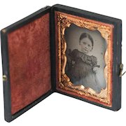 1/6th Tin Type Photograph of Little Girl in Display Case