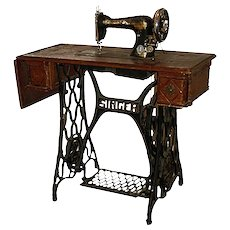 "❀ SPRING Price REDUCTION = 20% OFF | Unusual 1906 antique SINGER Treadle Sewing Machine | Oak cabinet | ""Art Nouveau"" cast iron stand"