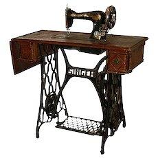 """1906    Unusual antique SINGER sewing machine   Oak cabinet   """"Art Nouveau"""" cast iron stand"""