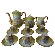 Antique Coffee set for 6   Albert PILLIVUYT   Foëcy Limoges   Unusual MINT condition