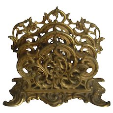 19th Century Rococo Revival Style | Solid Brass Mail Holder Office Desk