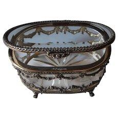 Vintage Sterling Silver & Crystal Jewellery Casket, Trinket Deorative Box | TOPÁZIO Portugal