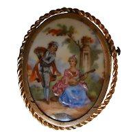 Antique Limoges Hand Painted Porcelain Brooch | Romantic Couple Music Scene