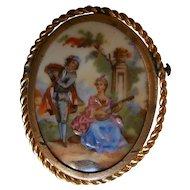Vintage Limoges Hand Painted Porcelain Brooch   Romantic Couple Music Scene