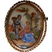Vintage Limoges Hand Painted Porcelain Brooch | Romantic Couple Music Scene