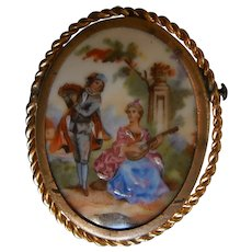 Vintage Limoges Hand Painted Porcelain Brooch | Romantic Couple Music Scene