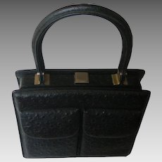 1960's Classy Black Ostrich Leather Handbag. Superb hand made quality! Unusual Mint condition.