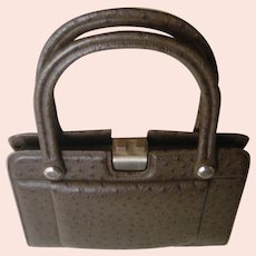 Classy 1960's Brown Ostrich Leather Handbag. Superb hand made quality! Unusual Mint condition