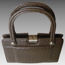 1960's Classy Brown Ostrich Leather Handbag. Superb hand made quality! Unusual Mint condition.