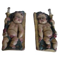 Early years 20th century   Unusual Pair of Polychrome Carved Wood Putti