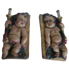 Early years 20th century | Unusual Pair of Polychrome Carved Wood Putti