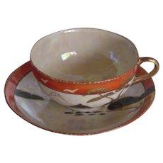 Handpainted Tea cup & Saucer |  Eggshell porcelain  | Taisho period pre 1921