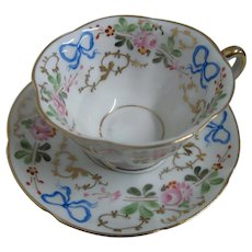 Hand painted Demitasse cup & Saucer 1947/68 | VISTA ALEGRE | Finest Portuguese Porcelain