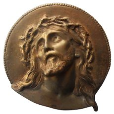 Face of Christ with the Crown of Thorns   Solid Brass   late 1800's-early1900's   Free Shipping