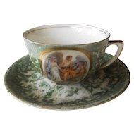 Hand painted Demitasse cup & Saucer 1924/47   VISTA ALEGRE   Finest Portuguese Porcelain