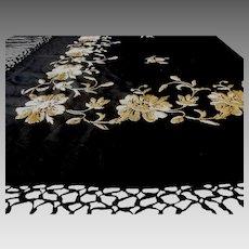 1920's | Silk Piano Shawl - Fashion Accessory | Hand Embroidered
