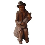 Vintage Portuguese Folk Art | The Street Musician - Painted Pottery Clay | 1983