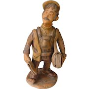Vintage Portuguese Folk Art | The Newspaper Boy - Painted Pottery Clay | 1983