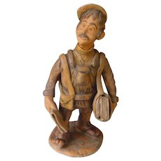 Vintage Portuguese Folk Art   The Newspaper Boy - Painted Pottery Clay   1983