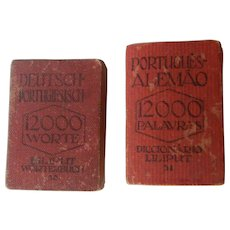 RARE Set of two LILIPUT Miniature Dictionaries    Deutsch-Portugiesisch & Português-Alemão   1920's   Free Shipping