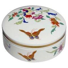 c. 1997 Large Round Box | 'Butterflies and Flowers' | VISTA ALEGRE Finest Portuguese Porcelain