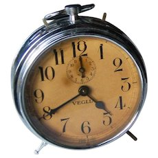 RARE Vintage Alarm Clock   Made by Veglia in Italy   circa 1930