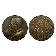 "Unusual Large Commemorative Bronze Medal | ""Pope Pilgrim"" 