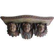 Antique 18th Century | Wall Bracket Carved Wood | Polychrome Putti Angel Faces