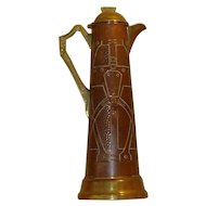 Antique 1890s-1910s   English Arts & Crafts   Tall Embossed Copper & Brass Jug/Pitcher/Decanter