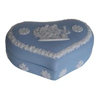 Vintage Wedgwood 1960s | Romantic Heart Shaped Lidded Box | Light Blue & White Jasperware | Free Shipping