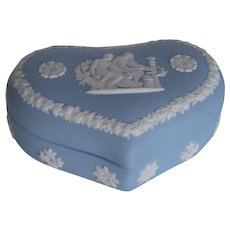 Vintage Wedgwood 1960s | Romantic Heart Shaped Lidded Box | Light Blue & White Jasperware