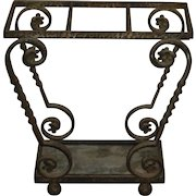 Mid-Century   Portuguese Vintage Scrolled Twist Wrought Iron Umbrella & Cane Stand