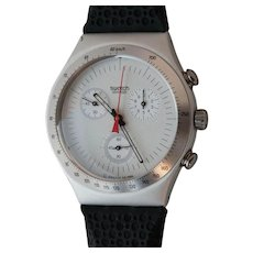 "Man's SWATCH Collection | 1996 Irony | RARE Aluminum Chronograph watch | ""Time Cut"""
