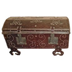 19th Century   Antique Portuguese Leather Studded Dome-Top Trunk   Restored Mid-century