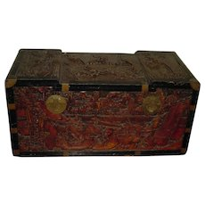Early-to-mid 20th Century   Oriental Carved Camphor Wood Chest   Macau