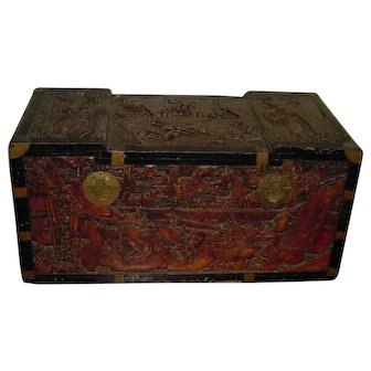 Mid-20th Century   Oriental Carved Camphor Wood Chest   Macau
