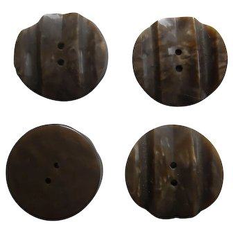 Set of 4   Thick Deeply Carved Bakelite Buttons   Beige Brown Marbled   Sew Thru 2 Hole