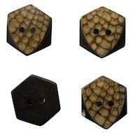 Set of 4 | Art Deco Bakelite Buttons | Beige Brown Leopard Pattern | Sew Thru 2 Hole