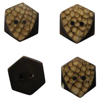 Set of 4 | Art Deco Bakelite Buttons | Beige Brown Leopard Pattern | Sew Thru 2 Hole