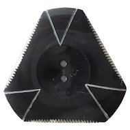 Set of 2 | Art Deco Bakelite Black Button | Triangle Shape | Sew Thru 2 Hole