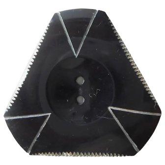 Set of 2   Art Deco Bakelite Black Button   Triangle Shape   Sew Thru 2 Hole