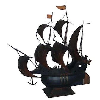Mid-Century   Portuguese Ancient Caravel Model   Hand Made in Copper and Wood