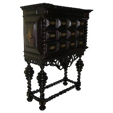 Antique Portuguese Rosewood carved cabinet-on-stand   18th - 19th century   Brazilian rosewood and Gilt brass mounts