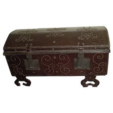 19th Century | Antique Portuguese Leather Studded Dome-Top Trunk | Restored Mid-century